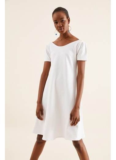 Quincey Cepli Elbise Beyaz